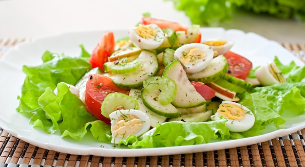 Salad of tomatoes, cucumbers and quail eggs