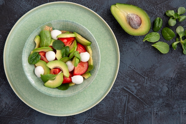 아보카도 체리 토마토 모짜렐라와 바질 샐러드 비타민 항산화 제와 섬유질이 풍부한 건강 식품