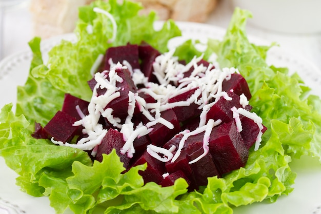 Salad with beet on the plate