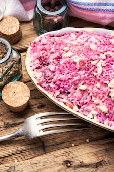 Salad with beets and herring