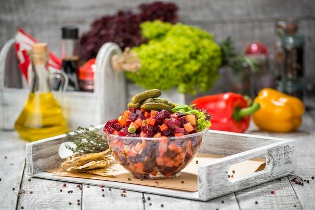 Salad with boiled vegetables. vinaigrette.