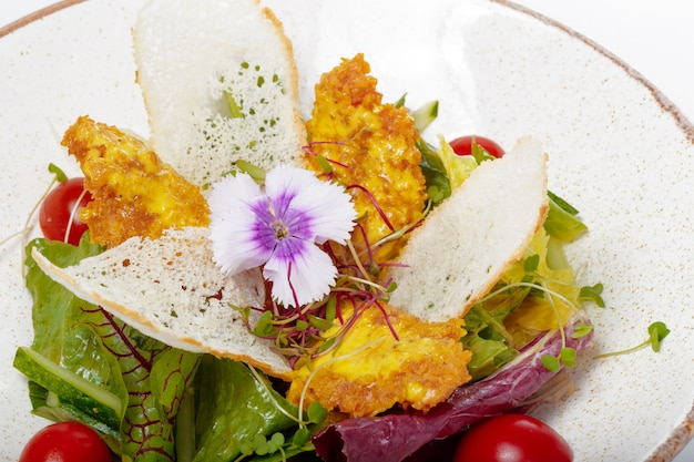 Salad with chicken on a white plate on light
