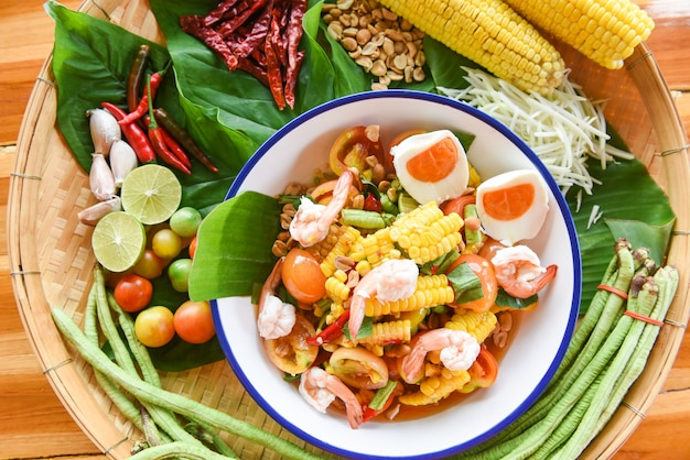 Salad  with corn, boiled eggs and shrimps