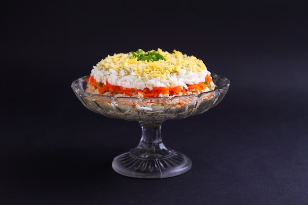 Salad with egg and fish
