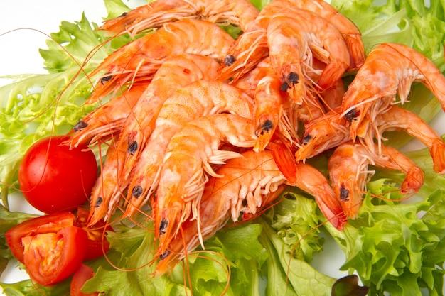 Salad with fresh prawn