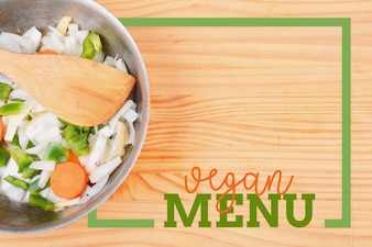 Salad with rectangle frame border of Vegan Menu card
