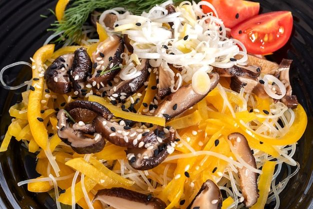 Salad with shiitake mushrooms and potato, with herbs. for any purpose.