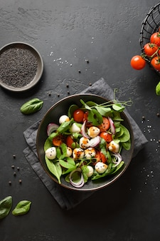 시금치, 여름 야채와 검은 배경에 모 짜 렐 라 샐러드. 평면도.