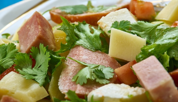 Salade comtoise< cuisine franc-comtoise, classic french salad is full of flavour and texture,