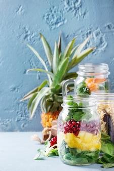 Salads in mason jars