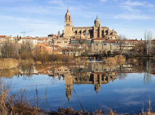 Salamancaspain  january beautiful view of the historic city of salamanca with new cathedral reflecting in the river tormes