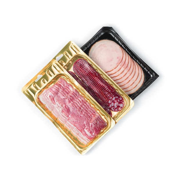 Salami, bacon and ham in vacuum packaging are isolated on a white background