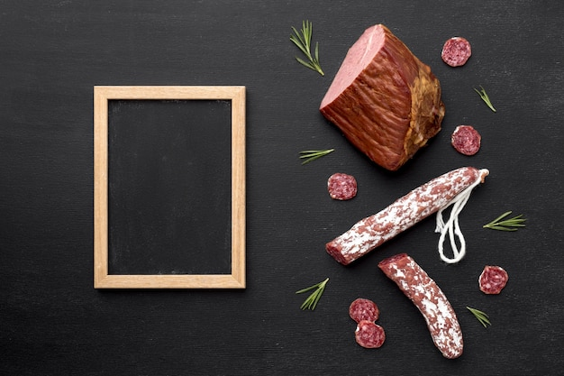 Salami and fillet meat with frame