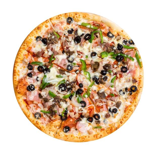 Salami, mushrooms, paprika, ham, olives pizza isolated on white.