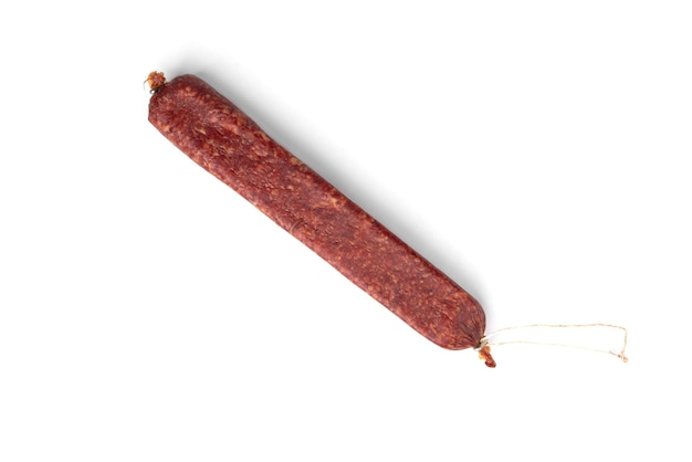Salami sausage isolated on white