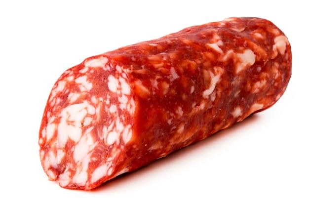 Salami sausages on white, close up.
