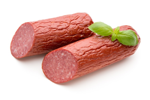 Salami smoked sausage, basil leaves cutout.
