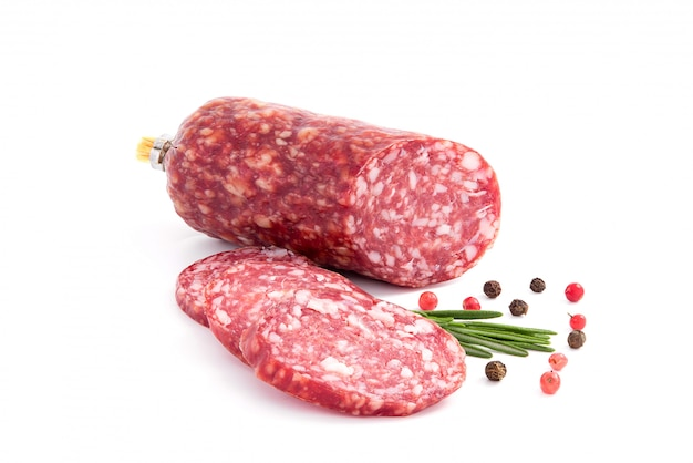 Salami smoked sausage, rosemary branch and pepper, isolated on white cutout