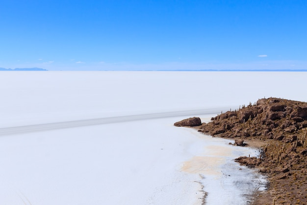 Вид на салар де уюни с острова инкауаси, боливия