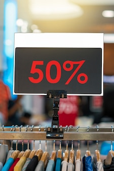 Sale 50% off mock up advertise display frame setting over the shirt line in the department