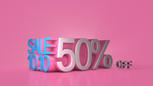 セールバナー1010ピンクの背景で50%オフビッグセールメガセールフラッシュセール3dレンダリング
