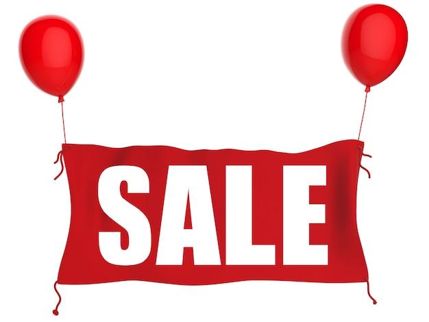 Продажа баннеров на красной ткани с красными воздушными шарами