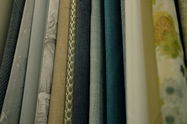 Sale - colorful fabrics in the store. close up