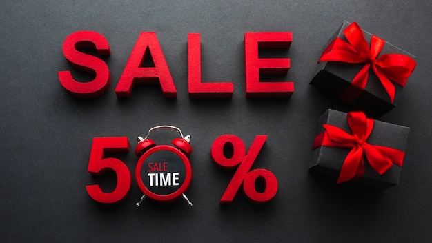 Sale fifty percent discount with clock