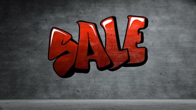 Sale graffiti on concrete wall  texture stone wall background.
