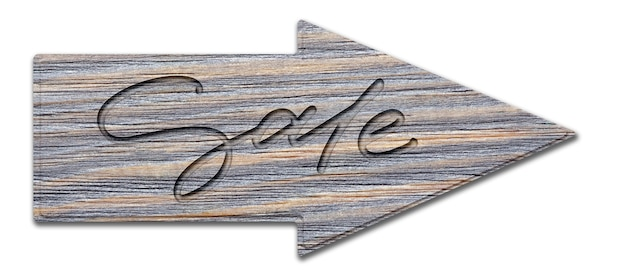 Sale. handwritten inscription on a wooden sign. isolated on white.