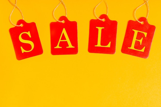 Sale labels price tags special offer and promotion store discount shopping time
