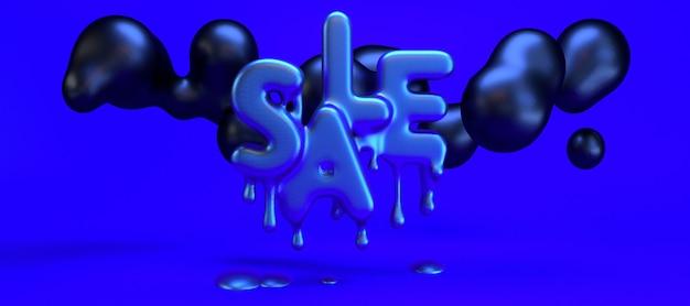 Sale long metallic blue banner. 3d rendering illustration advertisment template.