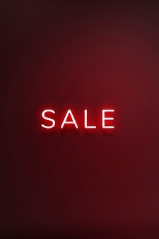 Sale neon red text on maroon background