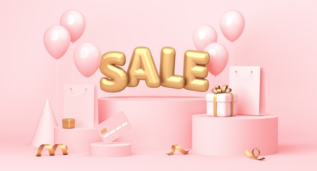 Sale poster with word, balloons, gifts and some shopping related elements on pastel pink background. 3d rendering