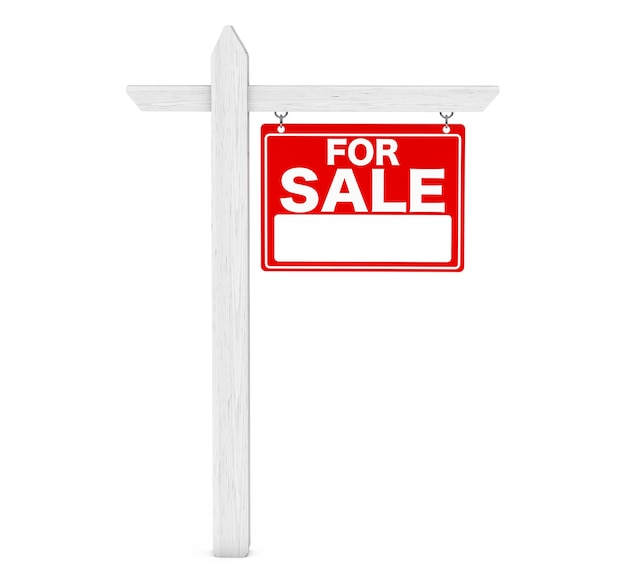 For sale real estate sign on a white background. 3d rendering