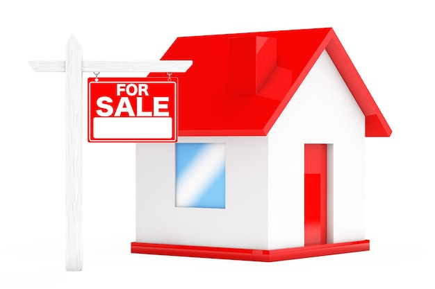 For sale real estate signs with simple house on a white background. 3d rendering