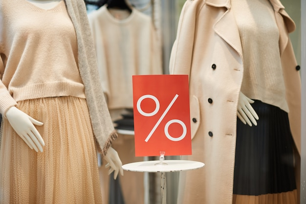 Sale sign in window display