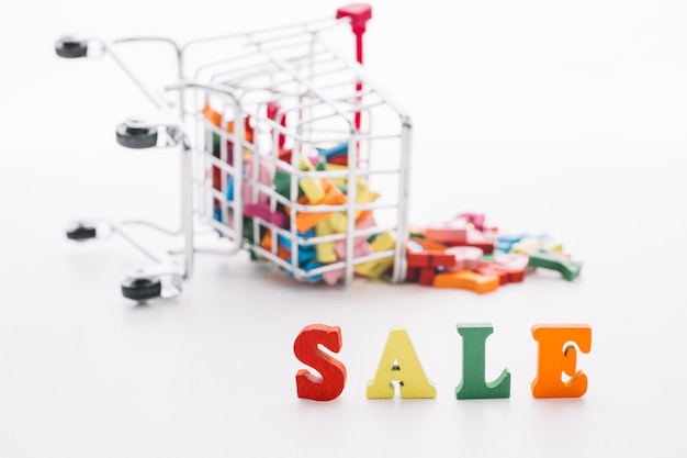 Sale sign with blurred shopping cart