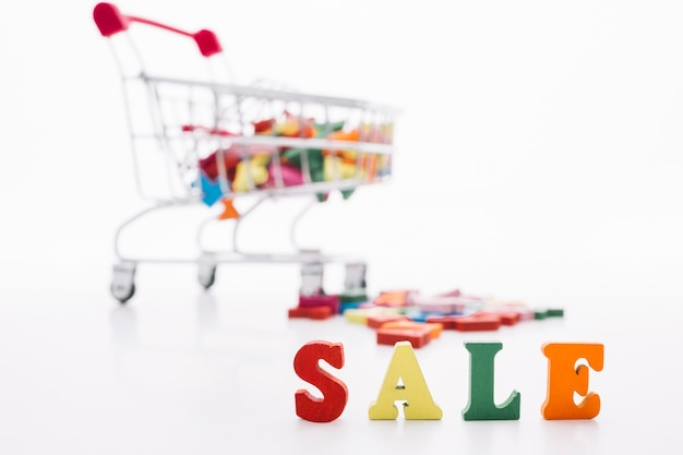 Sale sign with shopping cart front view