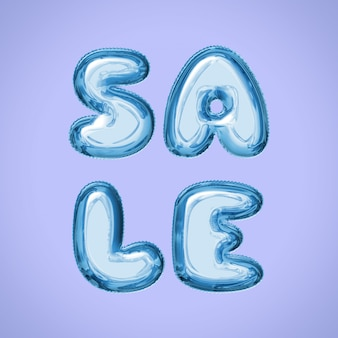 Sale square social media post with water balloon letters in blue color