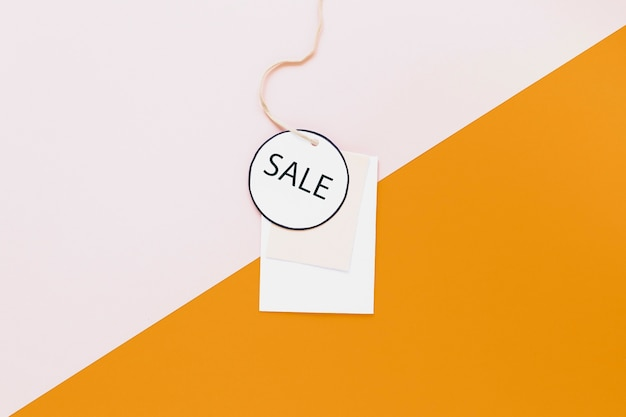Sale tag on two-color background