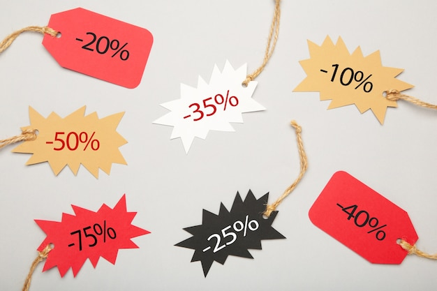 Sale tags with percent top view