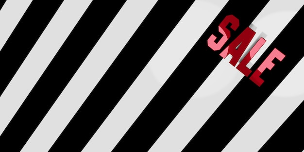 Sale text on background black and white diagonal stripes zebra pattern 3d illustration