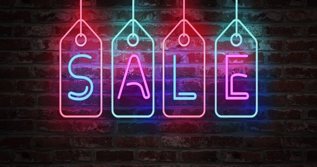 네온 불빛에 판매 텍스트 벽돌 벽에 서명. 판매 및 정리 개념의 개념입니다.