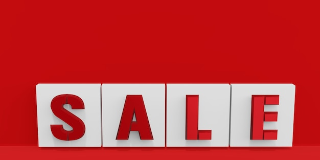 Sale text on red background 3d illustration (8)