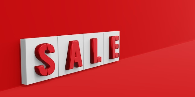 Sale text on red background 3d illustration