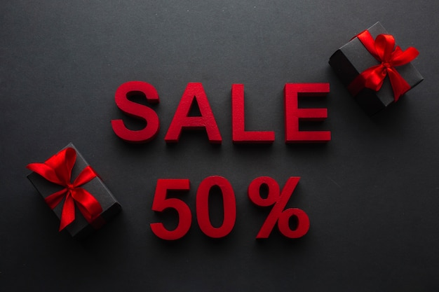 Sale with fifty percent discount and presents