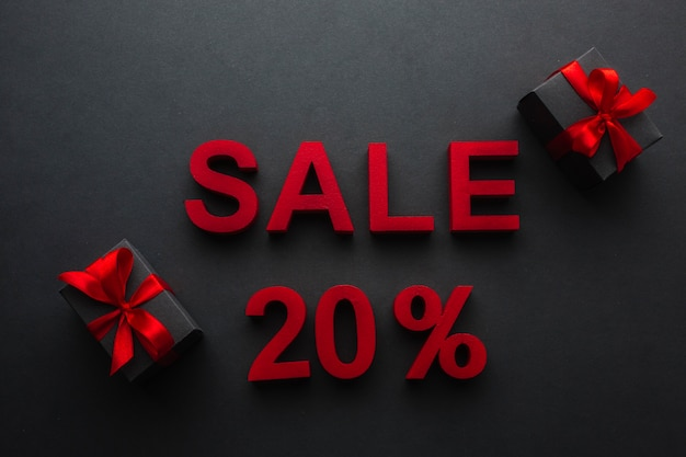 Sale with twenty percent discount and presents