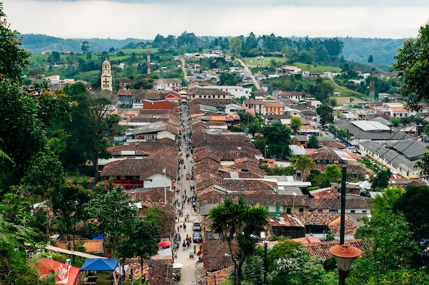 Salento, colombia - april 2019 view of streets in salento, in the coffee region in quindio, colombia.