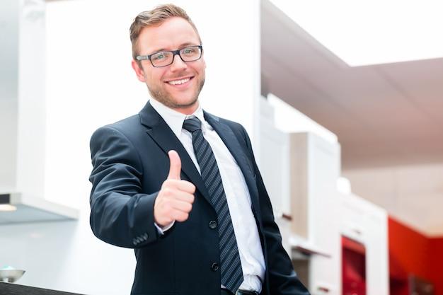 Salesman for domestic kitchen furniture store